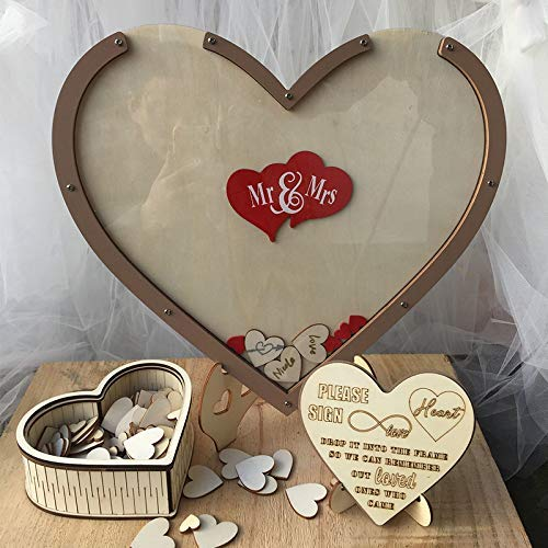 (GFDQH Wood Hearts Wedding Guest Book Alternative, Heart Drop Guest Book Rustic Wooden Love Heart Wedding Table Scatter Decoration Crafts, for 170 Hearts Wedding (Brown))