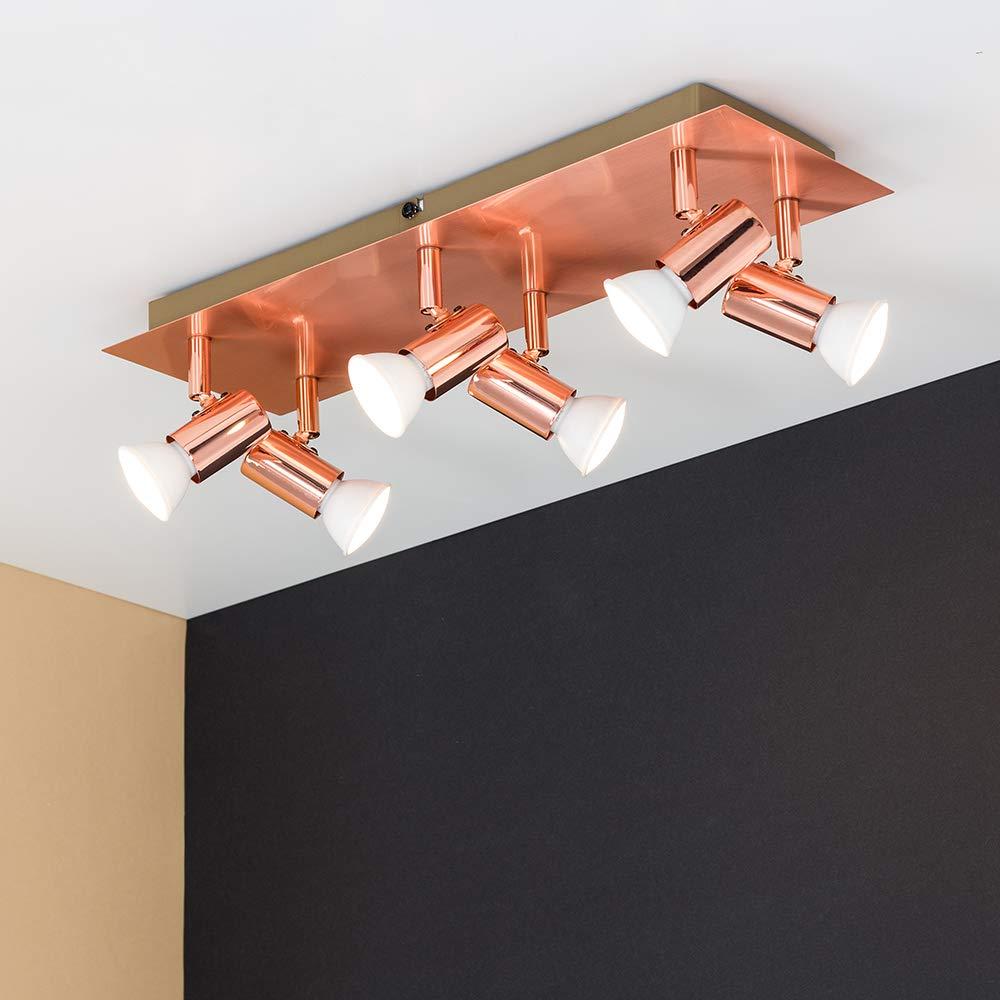 Clase de eficiencia energ/ética A MiniSun Blanco Brillante Moderno plaf/ón para el techo Zweig con 6 focos ajustables y base rectangular