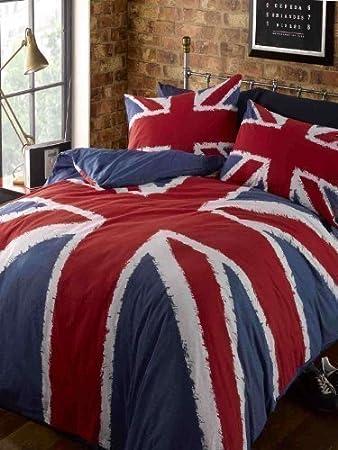 Set Copripiumino Letto Singolo Blu Navy Rosso Bandiera UK Stile ...