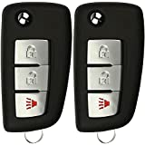 KeylessOption Keyless Entry Remote Car Uncut Flip Ignition Key Fob Replacement for Rogue S CWTWB1G767 (Pack of 2)