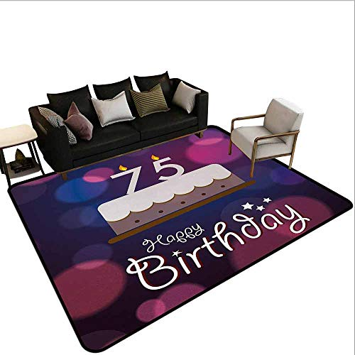 Children's Toy Carpet 75th Birthday,Abstract Artistic Background with Graphic Design Cake and Candles,Purple Magenta White