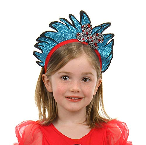 elope Dr. Seuss Cat in The Hat Thing 1 & 2 Costume Glitter Headband Blue