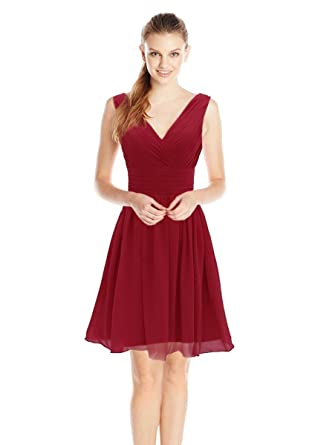 Dressystar 1086 Summer Chiffon Short Bridesmaid Dresses V Neck Party Prom Gowns 4 Burgundy
