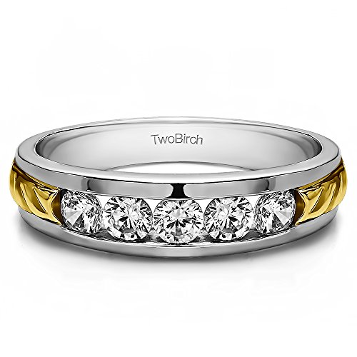 10k TwoTone Gold Mens Fashion Ring Forever Brilliant Moissanite(0.25Ct)Size 3 To 15 in 1/4 Size Intervals