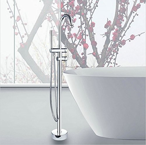 GOWE Bathroom Floor Mounted Tub Shower Faucet Set Chrome Brass Bath Shower Set with Rain Hand Shower Tub Mixer Faucet 0