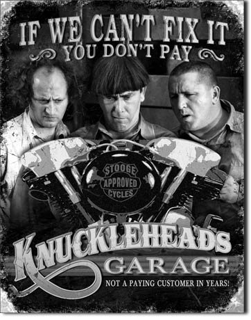 Three Stooges Knuckleheads Garage Tin Metal Sign