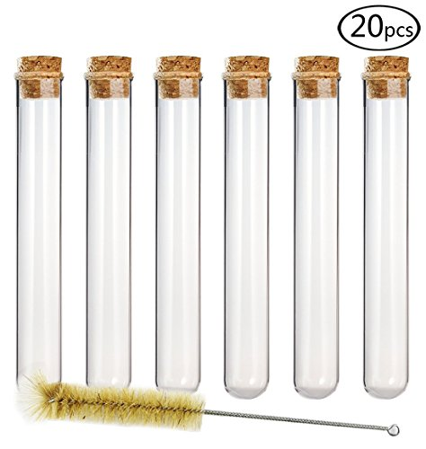 DEPEPE 20pcs 35ml Glass Test Tubes 20 x 150mm with Cork Stoppers and - Sampler Cigar Plus