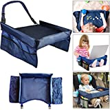 Oplaza Childrens Travel Play Tray with Protective Shoulder Belt,Waterproof Premium Nylon Tray for Snacks Car Bus Train and Plane Journeys,Snack and Toy Organizer Tray for Children