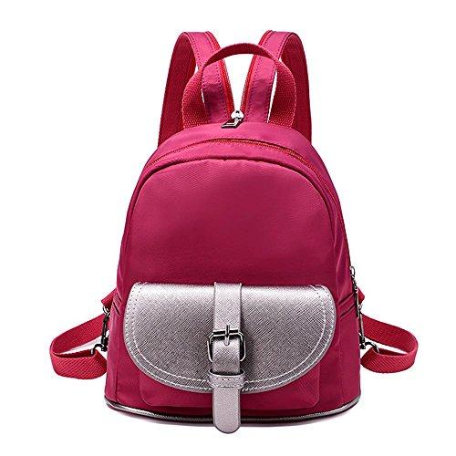 LINGE-Doppelte Umhängetasche Frauen einfach lässig Brust Nylon Rucksack Taschen Frauen rose red