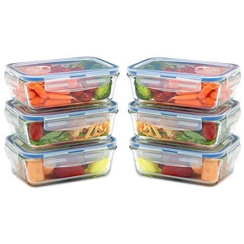 ainers for Food Storage and Prep w/ Snap Locking Lids Airtight & Leak Proof - BPA Free - Oven, Dishwasher, Microwave, Freezer Safe - Odor and Stain Resistant (Leftovers Containers)