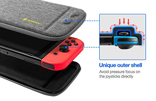tomtoc Carry Case for Nintendo Switch, Ultra Slim Hard Shell with 10 Game Cartridges, Protective Carrying Case for Travel, Portable Pouch with Original Patent and Military Level Protection, Gray 3