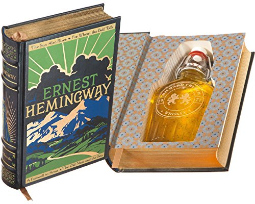 Flask Hollow Book - Ernest Hemingway (Leather-bound) (Magnetic Closure) (Custom-Etched)