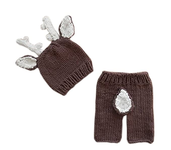 c30fcba42 Image Unavailable. Image not available for. Color: Pinbo Newborn Baby  Photography Prop Crochet Knitted Deer Hat Pants