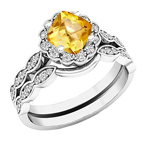 Dazzlingrock Collection 14K 5.5 MM Cushion Citrine & Round Diamond Ladies Halo Engagement Ring Set, White Gold, Size 7