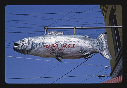 24 x 16 Ready to Hang Gallery Wrapped Fine Art Canvas Print of: Gary's Hardware, Fishing Tackle Sign, 2nd and Navarino, Algoma, Wisconsin 1992 Roadside Americana, J Margolies 62a by Vintography