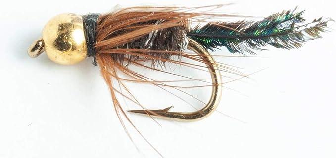 Fliegenfischen Fliegen Äsche Perlen Set 3 Hot Head Olive Nymphe Größe 12