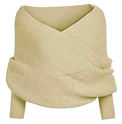 ARJOSA Women's Deep V Neck Cable Knit Shawl Scarf Wrap Sweater Top (Off-White)