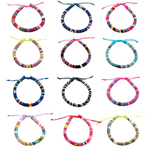 FROG SAC 12 PCs Woven Rope Friendship Bracelets - Unisex Adjustable Slip Knot Linen Hemp Cords Ethnic Tribal Braided Bracelet Pack - Great Party Favors for Men and Women
