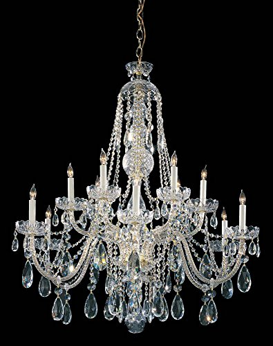 (Polished Brass / Hand Polished Traditional Crystal 12 Light Crystal Candle Style Chandelier )