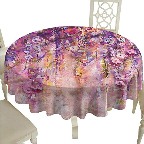 Tablecloth Stain Resistant Flower,Watercolor Wisteria Blooms D36,for Umbrella Table