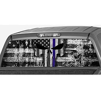 Amazon.com: EZ CUT PRO Blue Thin Line American Flag Perforated Vinyl ...