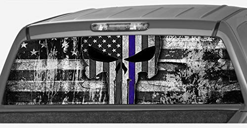 MotorINK American Flag Punisher Skull Police Blue Line B&W Rear Window Graphic Decal Tint Sticker Truck SUV ute ... (Size D 29