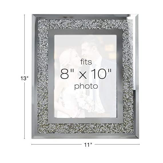 """Decorative Picture Frame 8""""x10"""" Photo Holder Glass Mirror with Sparkling Crystal Boarder. Use Standing with Included Easel or Ready to Hang. - MODERN DESIGN - Modern real glass picture frame with sparkling crystal border that perfectly fits any decor. The frame can hold a 8x10 inch photo. EASY TO DISPLAY - With the pre-installed brackets and standing easel, ready to mount on the wall or to display on the desktop. The frame can hold a 5x7 inch photo, A lovely picture frame to decorate a wall, Vertically and Horizontally. UNIQUE PHOTO FRAME - Perfect for your home, office, studio or gallery. Not only a great addition to any room, but also a perfect gift to anyone. - picture-frames, bedroom-decor, bedroom - 51Ec7Q9a0lL. SS570  -"""