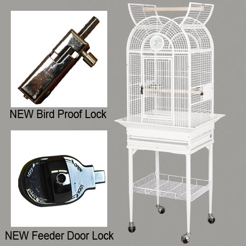 Hq Parrot Cages (KING'S CAGES Superior Luxury Line Small Cage SLUX 1816 / 9001818 PARROT CAGE 18X16X57 bird cages toy toys Parakeet Canary cockatiel lorie (WHITE))