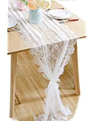 BOXAN 30x120 Inch White Classy Lace Table Runner Overlay With Rose Vintage  Embroidered, Boho Wedding Reception Table Decoration, Summer U0026 Fall  Decoration, ...
