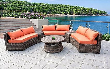 Excellent Amazon Com Curved Outdoor Wicker Rattan Patio Furniture Set Download Free Architecture Designs Momecebritishbridgeorg