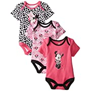 Disney Baby Girls' Minnie Mouse Unique 3 Pack Bodysuits, Multi, 0-3 Months