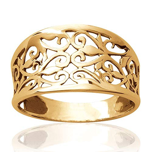 So Chic Jewels - 18k Gold Plated Filigree Ring - Size 9