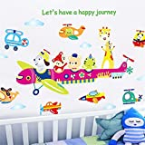 YUMULINN wallpaper stickers Wallpapers murals Children's room decoration nursery wall wallpaper self-paste baby bedroom cartoon animal aircraft wall stickers, 60X90CM
