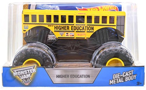 2016 Hot Wheels Monster Jam  Higher Education 1 24 Scale   1St Edition New School Bus Big Truck
