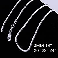jindarat Pop Wholesale Fashion jewelry 2mm Snake Chain Silver Plated Necklace 18-24 inch (18)