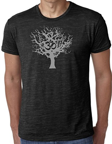 Yoga Clothing For You Mens Gray Tree of Life Burnout Tee Shirt, Medium Black