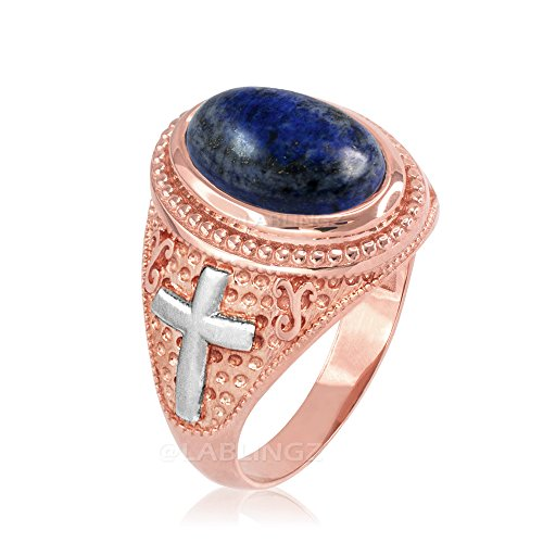 14K Two-Tone Rose Gold Lapis Lazuli Christian Cross Ring (9) - 14k Lapis Cross