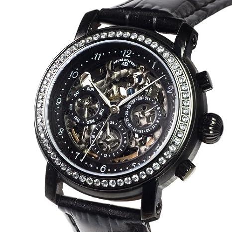 André Belfort 410143 - Reloj analógico de mujer automático con correa de piel negra - sumergible a 50 metros: Amazon.es: Relojes
