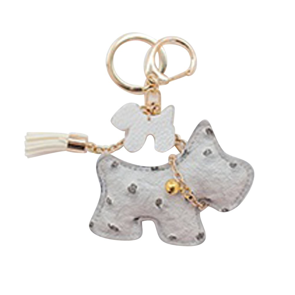 Dog Design Charm with one tassel and bell necklace (grey)