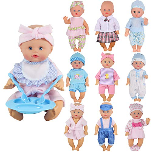 9 Sets for 7-8-9-10 Inch Baby Doll Clothes Reborn Newborn Outfits Costumes with Kitchen - Patch Cabbage Newborn Clothes
