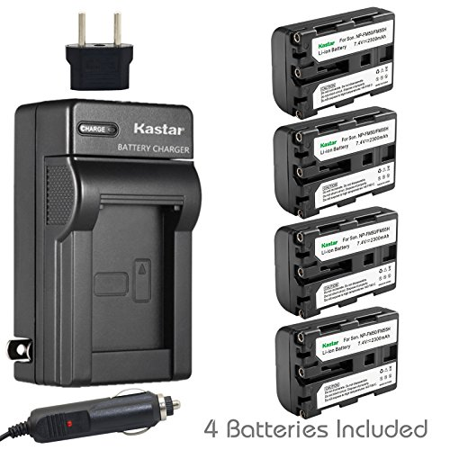 Kastar 4 X NP-FM50 InfoLithium Battery and Charger Kit for Select Sony M Type Equivalent Camcorder/Digital Camera