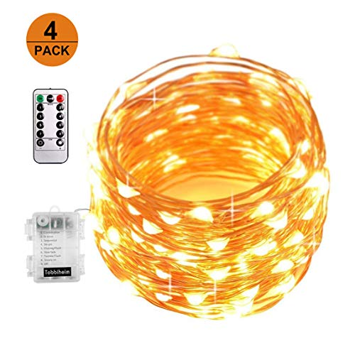 XINBAOHONG Battery Operated 4 Pack Fairy Lights, 50 LED 16.4ft Copper Wire Starry Rope Light, Waterproof Firefly String Light Indoor/Outdoor Decoration (Warm White) (Lights Aldi Christmas)