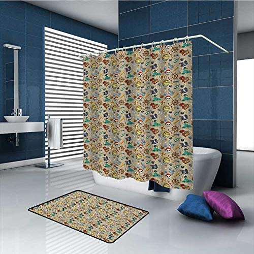 PINGYEHOME 2 Piece Cheerful Sketch Cartoon Designs Banded Shower Curtain Bath Set, Shower Curtain with 1 mats 12 Metal Crystal Roller Ball Shower Hooks -Shower Curtain/60 x L70 & Rug/23.6
