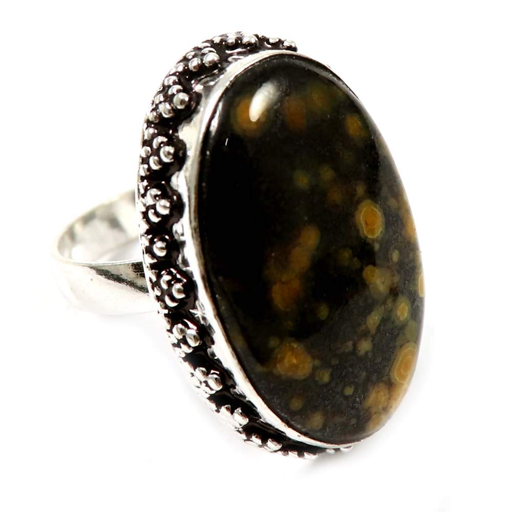 Silver Plated Jewelry GRD-41 GoyalCrafts Natural Ocean Jasper Lovely Gemstone Ring US-7.75