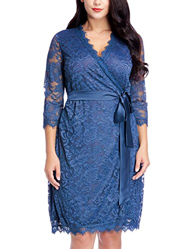 Grapent Womens Plus Size Royal Blue Floral Lace 3/4 Sleeves Formal True Wrap Dress Cocktail 0X