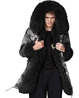Aofur Mens Winter Warm Thick Faux Fur Slim Trench Coat Long Jacket Parka Hooded Pea Coat
