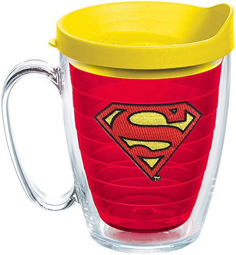 - Tervis 1246063 DC Comics - Superman Insulated Tumbler with Emblem and Yellow Lid, 16oz Mug, Red