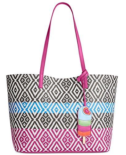 (INC Womens Reyna Printed Contrast Trim Tote Handbag B/W Large)