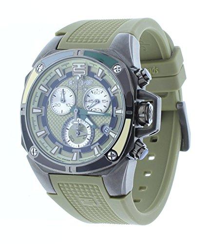Technosport Swiss Chronograph Green Silicone Strap 38mm Gunmetal Case Unisex Watch TS-100-Splash7