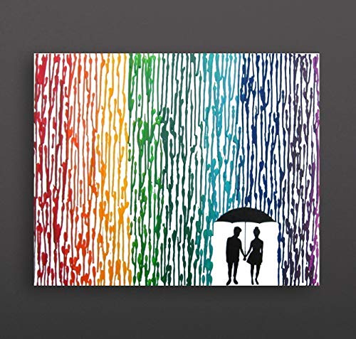 Lesbian Wedding Gift Non Binary Punk Girls 16quotx20quot Canvas Painting Rainbow Melted Crayon Art